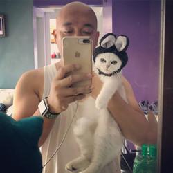 with Koko w/ bunny cap