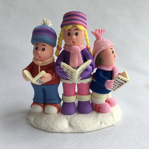 Carol singers christmas cake topper