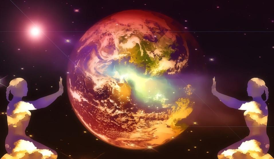 Meditação com o Planeta Terra e o Sol vistos do espaço   Foto Pixabay