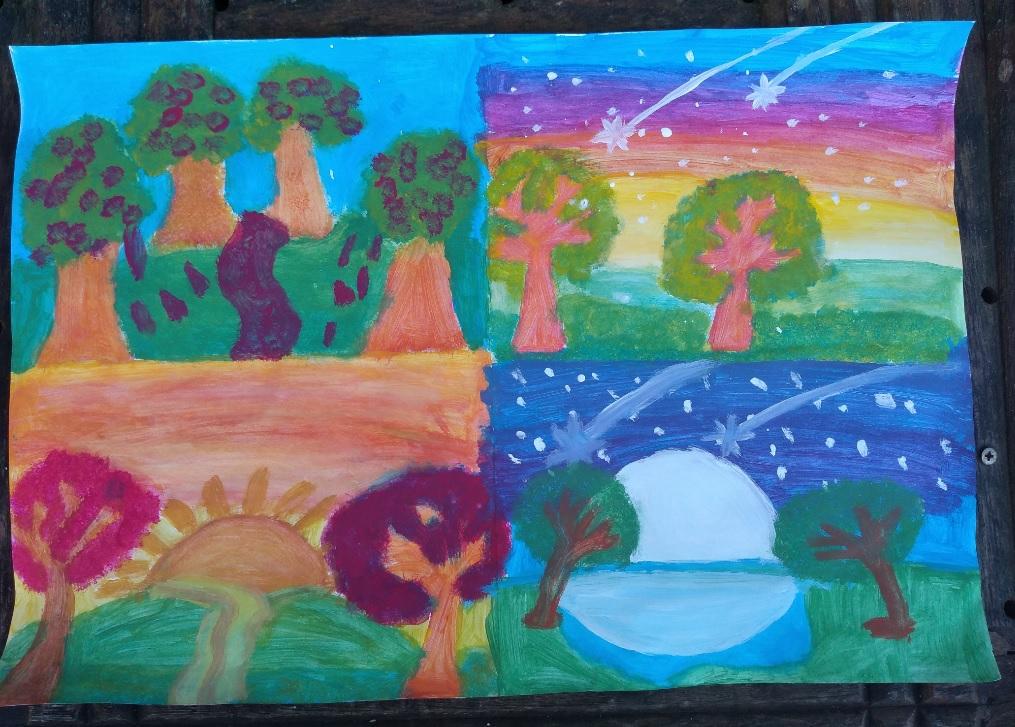 Desenho Infantil | Árvores dia e noite