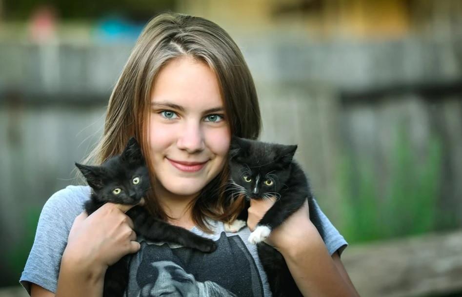 Moça voluntária cuidando de filhotes de gato | Foto Pixabay
