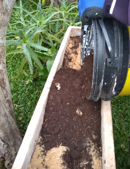 Preparo do composto do solo com areia grossa e adubo orgânico com cascas | Foto Robriane Lara ©