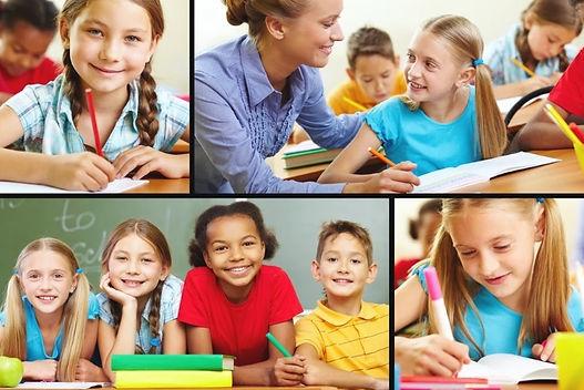 Crianças Escrevendo e Estudando