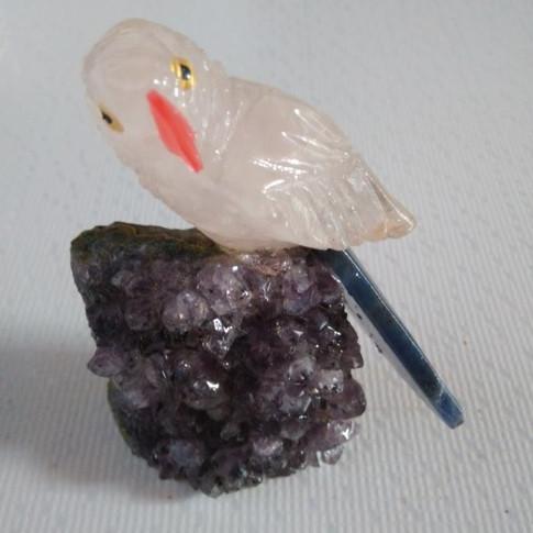 Decoração Drusa Ametista e Pássaro Quartzo Rosa