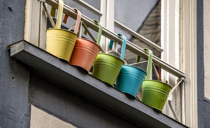 Vasos metálicos coloridos para plantas da horta | Foto Pixabay