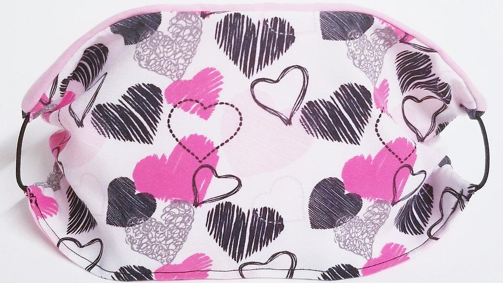 Pink Black Hearts Mask