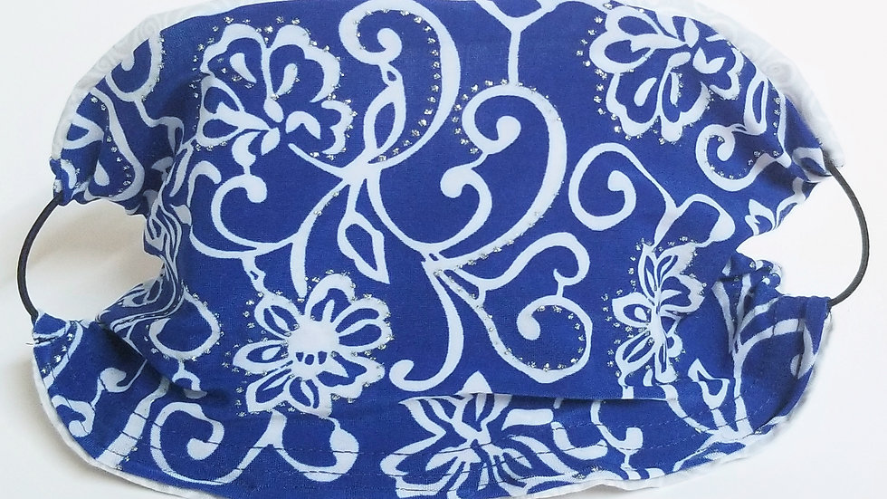 Royal Blue Bling Paisley Mask