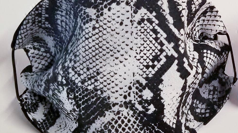 Black Grey Faux Snakeskin Mask