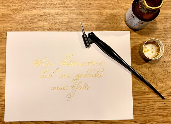 """Karte """"Frohe Weihnachten weiss-gold"""""""