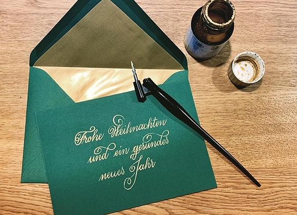 """Karte """"Frohe Weihnachten grün-gold"""""""