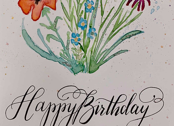 """Karte """"Happy Birthday - Blumenstrauss"""""""