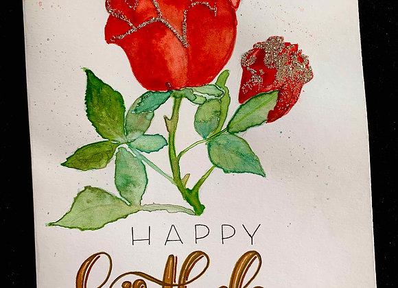 """Karte """"Happy Birthday - Rose"""""""