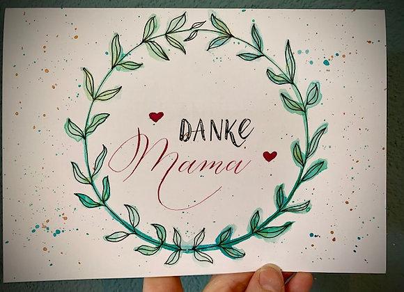 """Karte """"Danke Mama"""", Kranz"""
