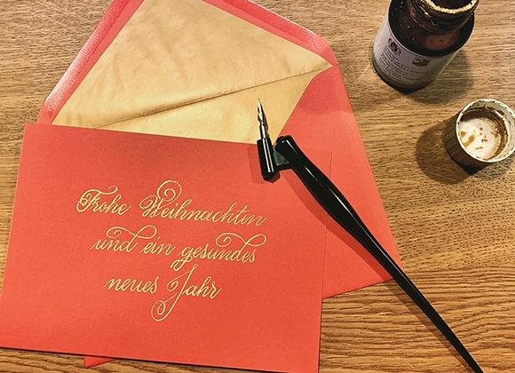 """Karte """"Frohe Weihnachten rot-gold"""""""