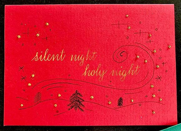 "Karte ""silent night"", rot"