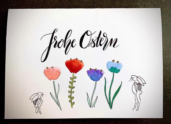 """Karte """"Blumen mit Osterhasen"""""""
