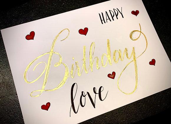 "Karte ""Happy Birthday Love"""