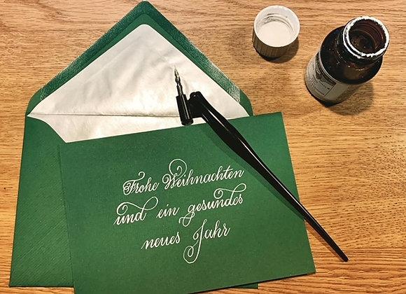 """Karte """"Frohe Weihnachten grün-silber"""""""