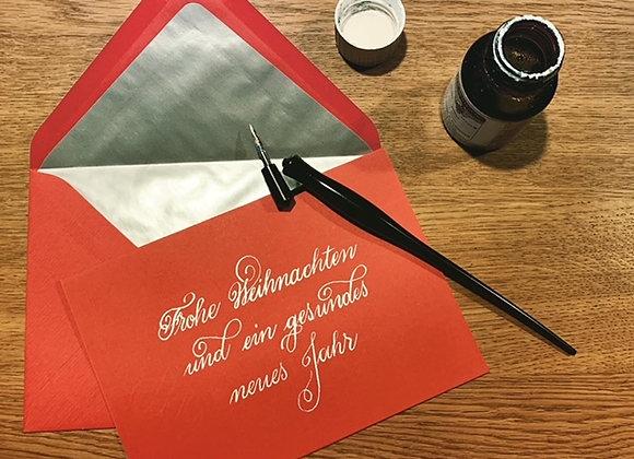 """Karte """"Frohe Weihnachten rot-silber"""""""