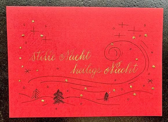 """Karte """"Stille Nacht, heilige Nacht"""", rot"""