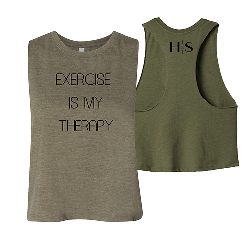 """Racerback Cropped Tank: """"Exercise Is My Therapy"""""""