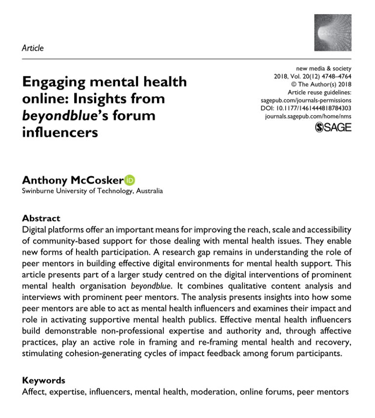 Engaging Mental Health Online: Insights from beyondblue's forum influencers