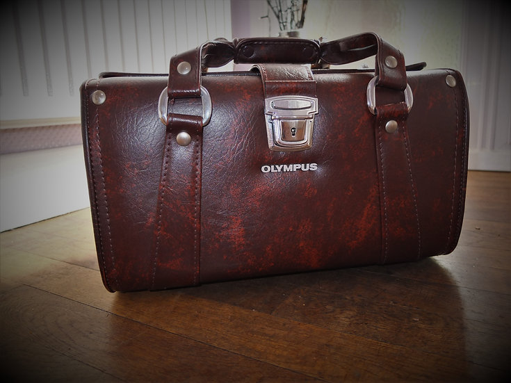 Vintage Olympus Leather Camera & Accessories Case