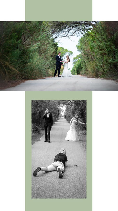 Wedding session - bride and groom, with wedding  photographer at work