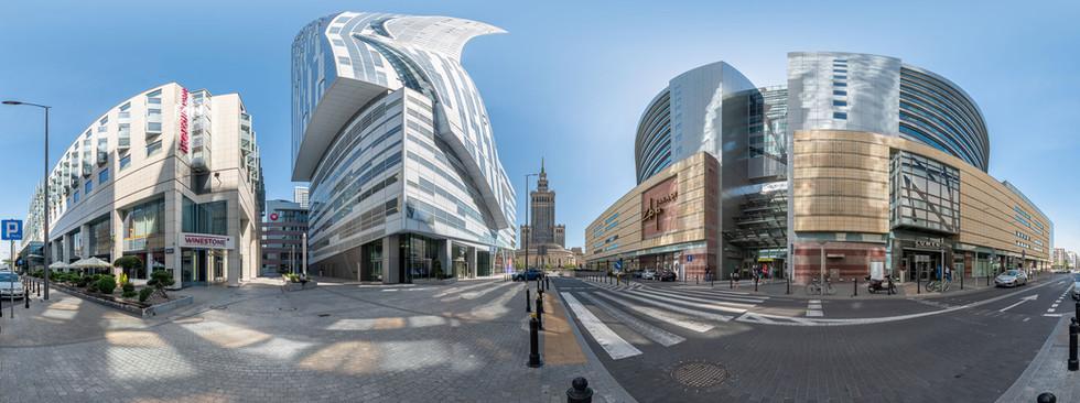 Fotografia sferyczna - panorama 360x180 - przestrzeń miejska w Warszawie