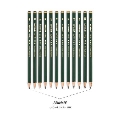fotografia produktowa materiały biurowe ołówek HB - 8B Penmate