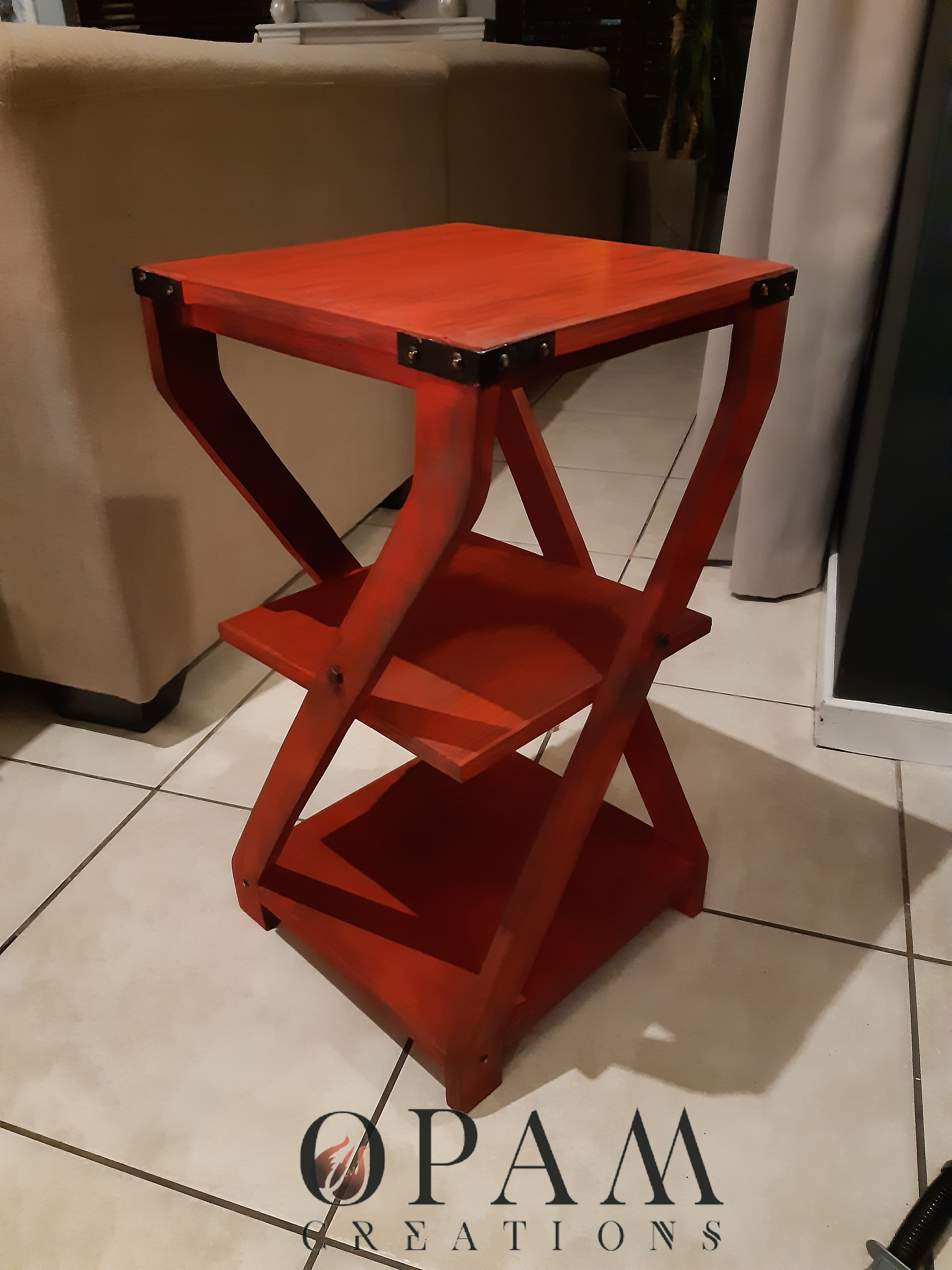 Twisted Leg Side Table (Fireman's Red)