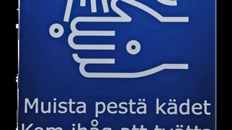 Kom ihåg att tvätta händerna skylt (3 språk)