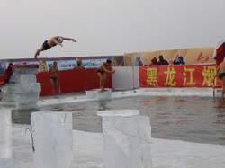 diving in the icy lake