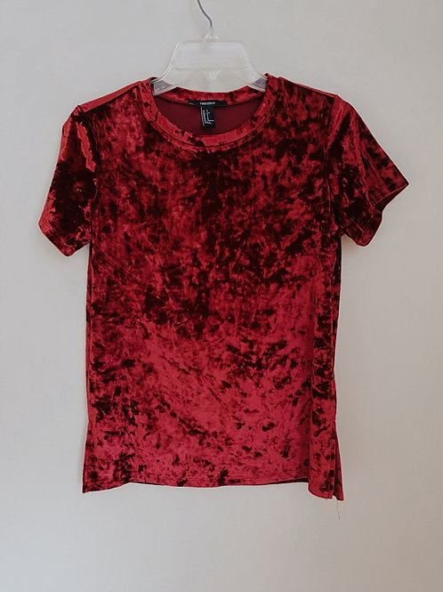 Red Crushed Velvet Top/ Small