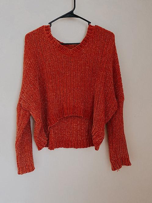 Orange Cropped Sweater/ Small