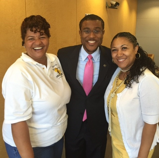 Enjoying a smile with Tristian Breaux and Stephanie Perry after the 100 Fathers Inc. Father's Day Breakfast in June 2016.