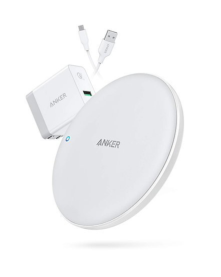 Combo Anker PowerPort Wireless 7.5 Pad UN White Iteration 1 & PowerPort+ 1 with