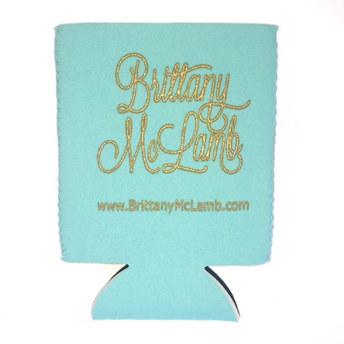 Tiffany Blue/Metallic Festival Koozie