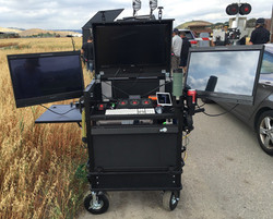 Bigfoot Split-apart Side Operator Cube cart with integral lid, lower 1RU rack