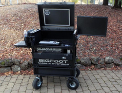 Bigfoot 'Side Operator' Split-Apart System Cart with Dual monitors open