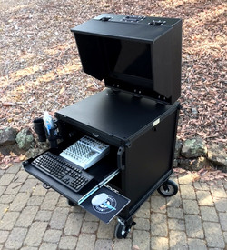 Bigfoot Cart System open with monitor shade - option