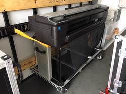 PG&E Plotter Cart tied in trailer