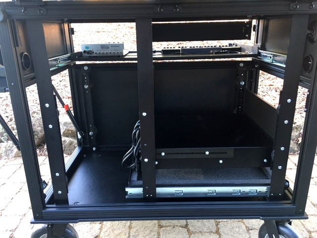 Bigfoot SideOperator 38D 'triple' rackrail detail in deep rack, side access