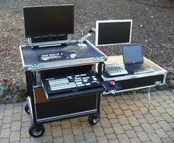 Bigfoot Side Operator Tricaster 460 cart with 24inch wide drawer swing up monitor-2RU rack