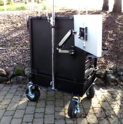 Bigfoot cart  with no storage lid, 4 each babypin monitor mounts (4)