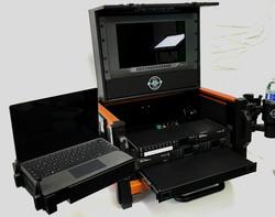 Bigfoot Micro Versa Flypak open 11RU open with Side VESA mounted laptop tray