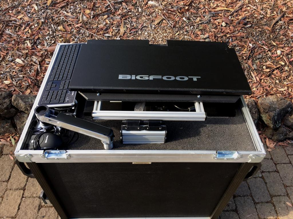 Bigfoot with 27inch monitor, shade stored