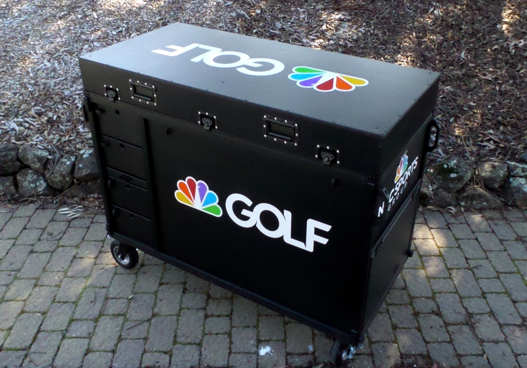 Golf Channel-Bigfoot DoubleRack Plus Production cart system closed, Dual 28' monitors
