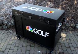 Golf Channel-Bigfoot DoubleRack Plus Production cart system closed, Dual 28' monitors