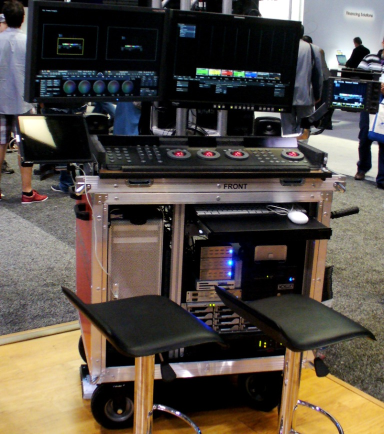 Bigfoot triple monitor mount set up, upper Control drawer